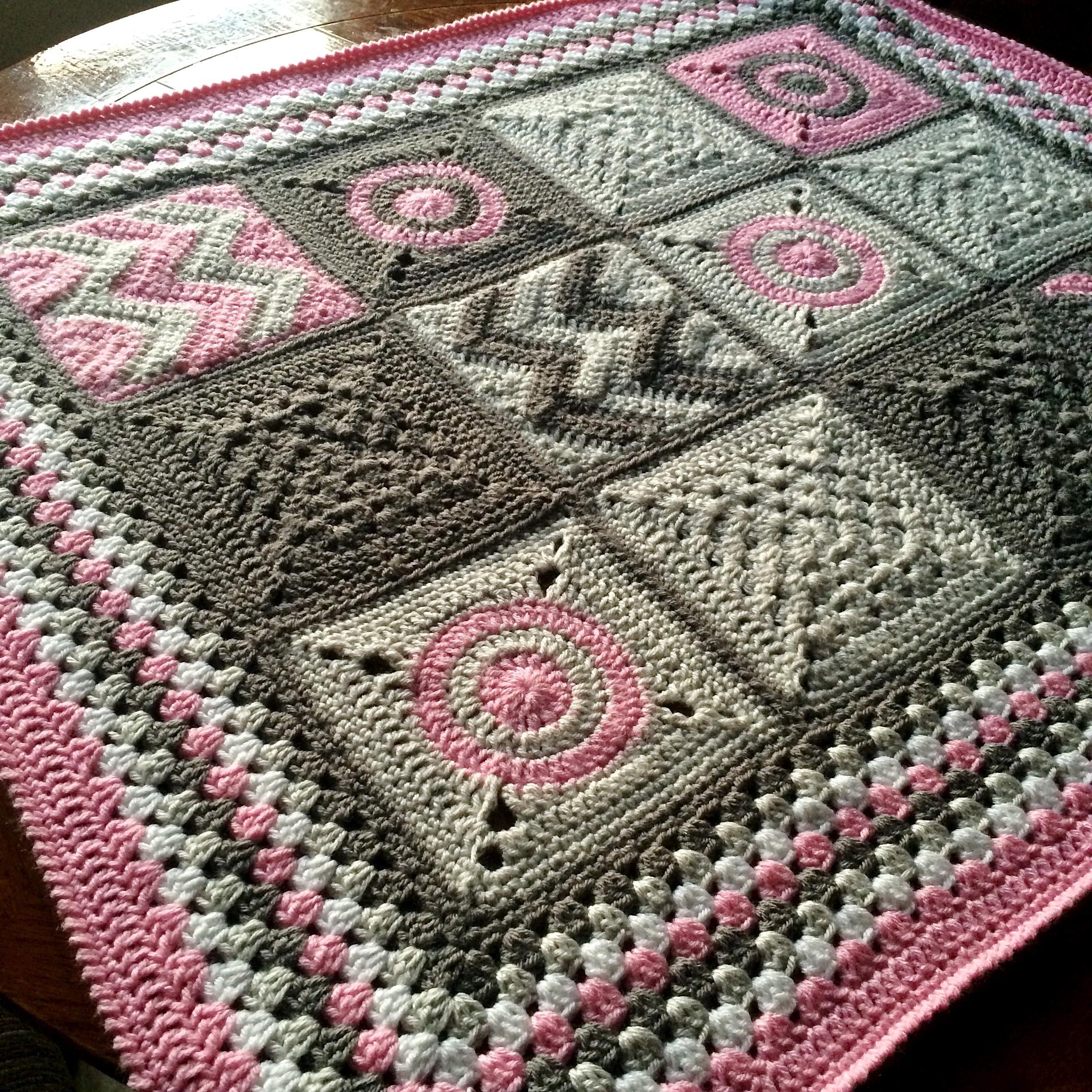 Crochet Baby Blanket Pattern Modern Patchwork Cypresstextiles